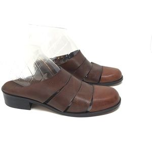 Enzo Angiolini Brown Leather Mules Asterisk 6.5